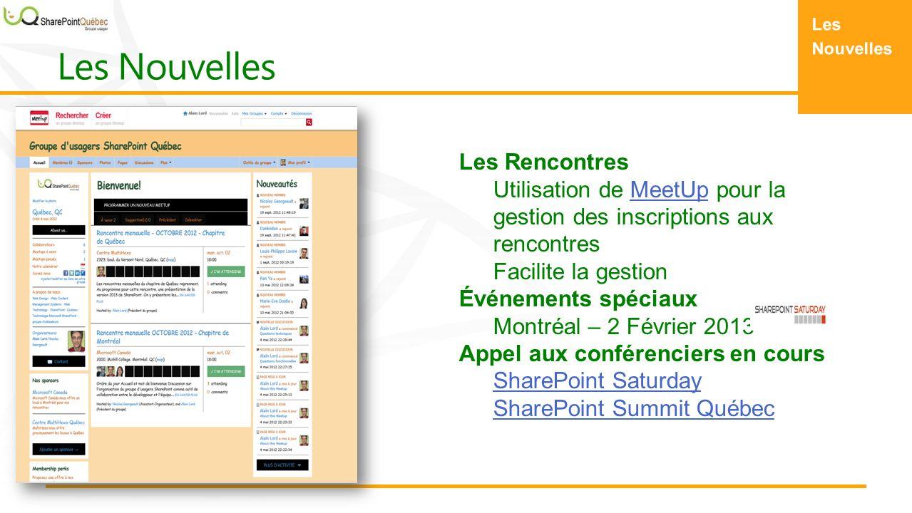 Les Rencontres Utilisation de MeetUp pour la gestion des inscriptions aux rencontresMeetUp Facilite la gestion Événements spéciaux Montréal – 2 Février 2013 Appel aux conférenciers en cours SharePoint Saturday SharePoint Summit Québec