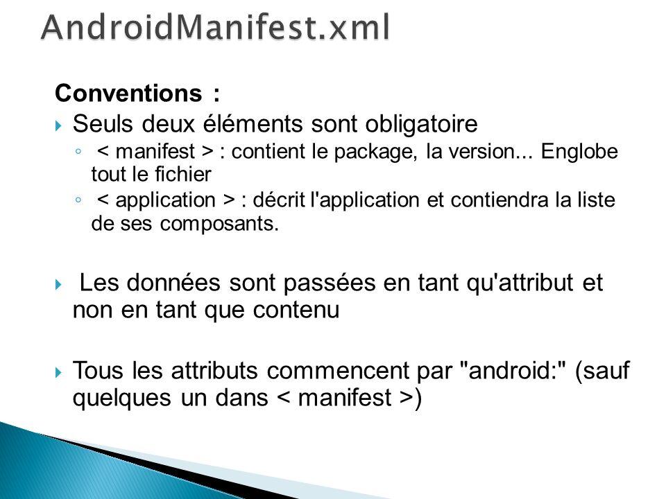 Conventions : Seuls deux éléments sont obligatoire : contient le package, la version... Englobe tout le fichier : décrit l'application et contiendra l