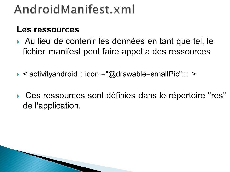 Les ressources Au lieu de contenir les données en tant que tel, le fichier manifest peut faire appel a des ressources Ces ressources sont définies dan
