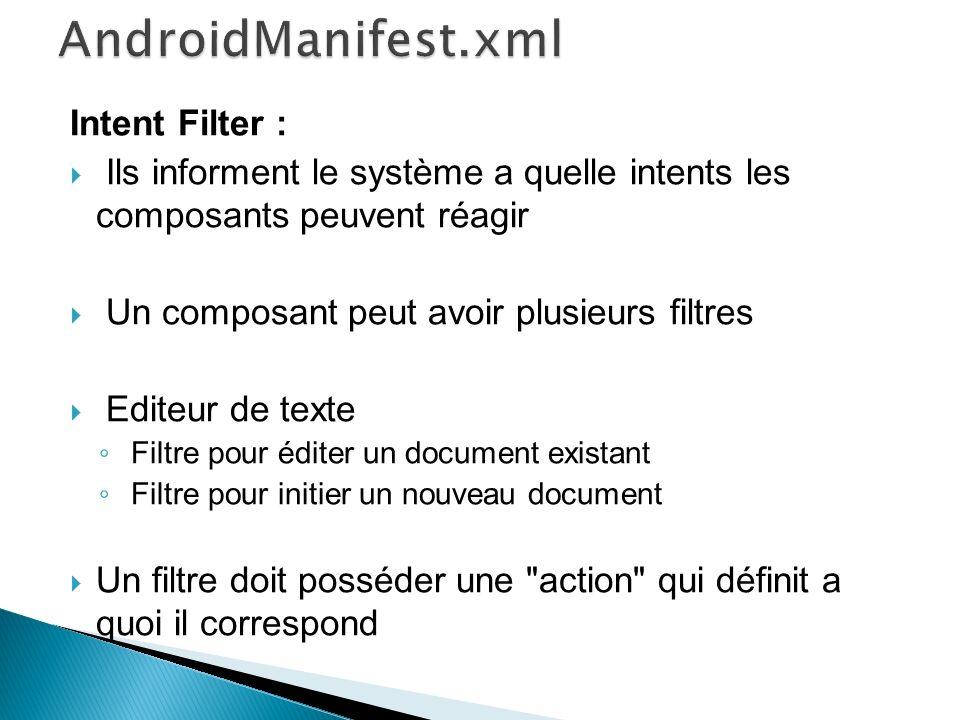 Intent Filter : Ils informent le système a quelle intents les composants peuvent réagir Un composant peut avoir plusieurs filtres Editeur de texte Filtre pour éditer un document existant Filtre pour initier un nouveau document Un filtre doit posséder une action qui définit a quoi il correspond