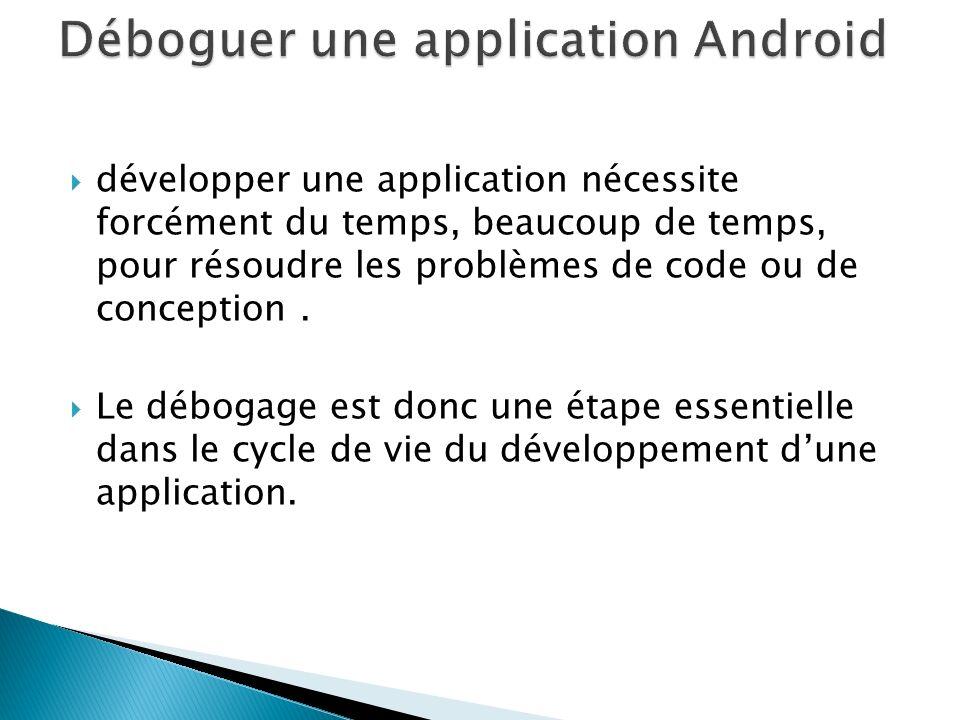 développer une application nécessite forcément du temps, beaucoup de temps, pour résoudre les problèmes de code ou de conception. Le débogage est donc