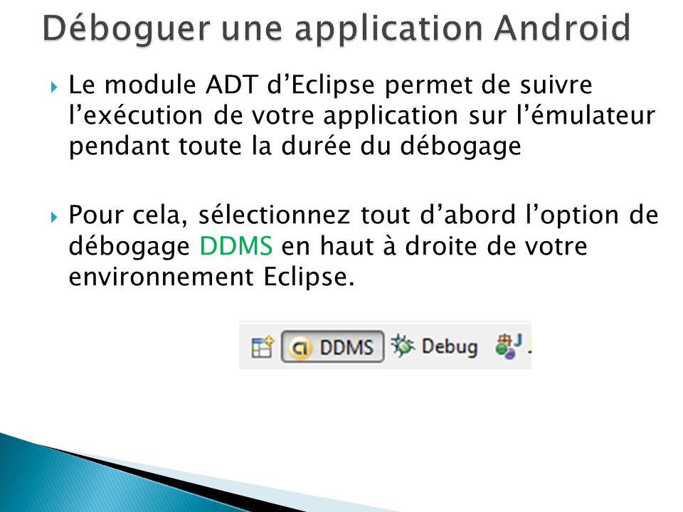 Le module ADT dEclipse permet de suivre lexécution de votre application sur lémulateur pendant toute la durée du débogage Pour cela, sélectionnez tout dabord loption de débogage DDMS en haut à droite de votre environnement Eclipse.