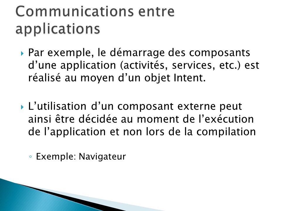 Par exemple, le démarrage des composants dune application (activités, services, etc.) est réalisé au moyen dun objet Intent.