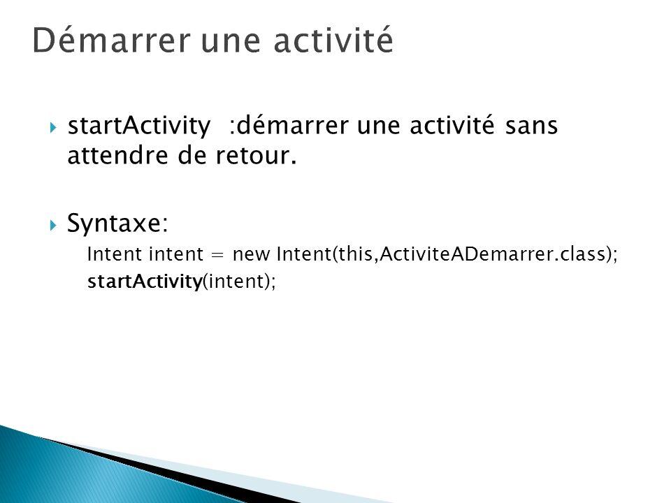 startActivity :démarrer une activité sans attendre de retour. Syntaxe: Intent intent = new Intent(this,ActiviteADemarrer.class); startActivity(intent)
