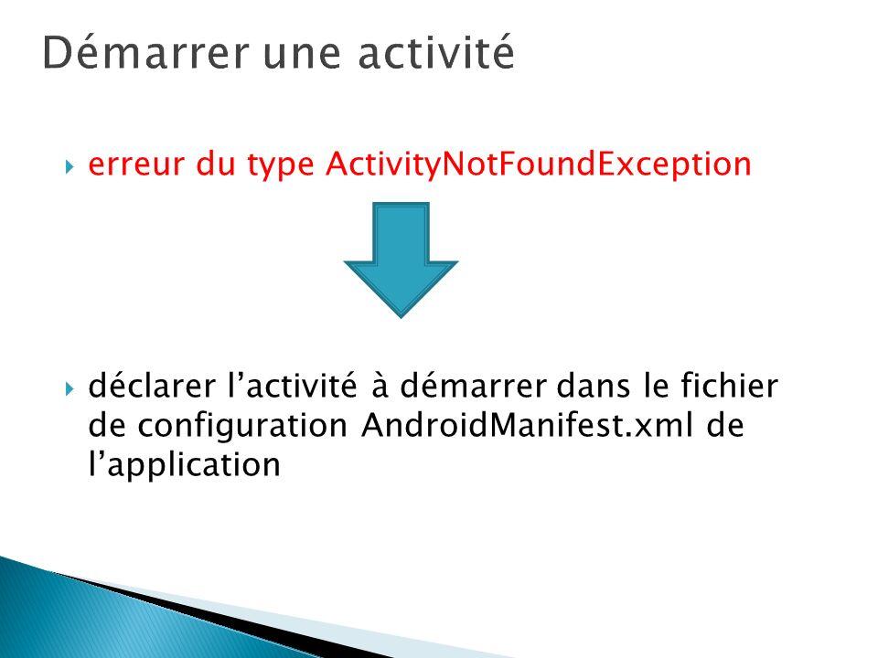erreur du type ActivityNotFoundException déclarer lactivité à démarrer dans le fichier de configuration AndroidManifest.xml de lapplication