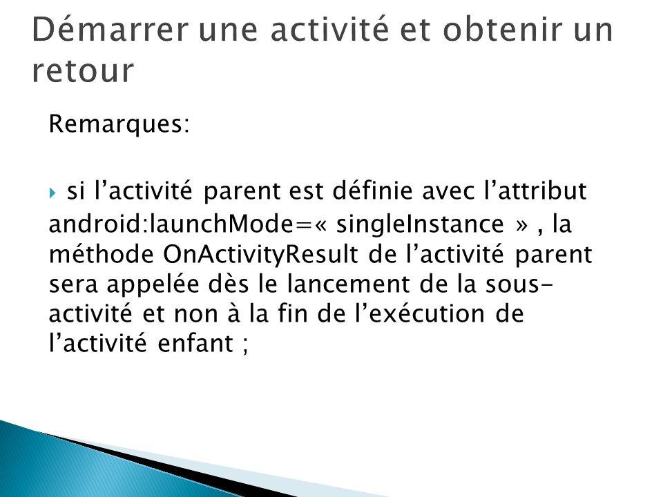 Remarques: si lactivité parent est définie avec lattribut android:launchMode=« singleInstance », la méthode OnActivityResult de lactivité parent sera appelée dès le lancement de la sous- activité et non à la fin de lexécution de lactivité enfant ;