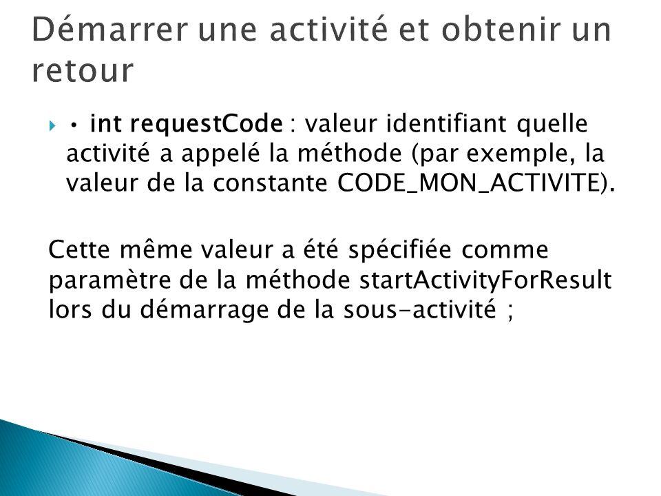 int requestCode : valeur identifiant quelle activité a appelé la méthode (par exemple, la valeur de la constante CODE_MON_ACTIVITE). Cette même valeur
