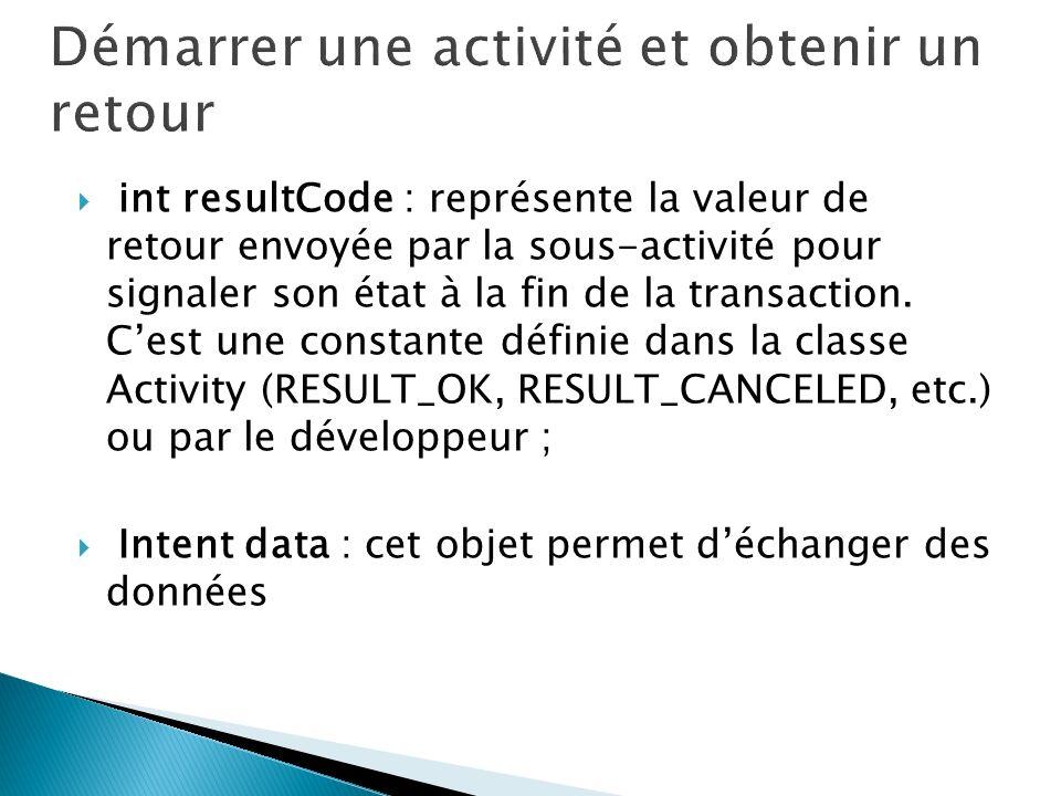 int resultCode : représente la valeur de retour envoyée par la sous-activité pour signaler son état à la fin de la transaction. Cest une constante déf