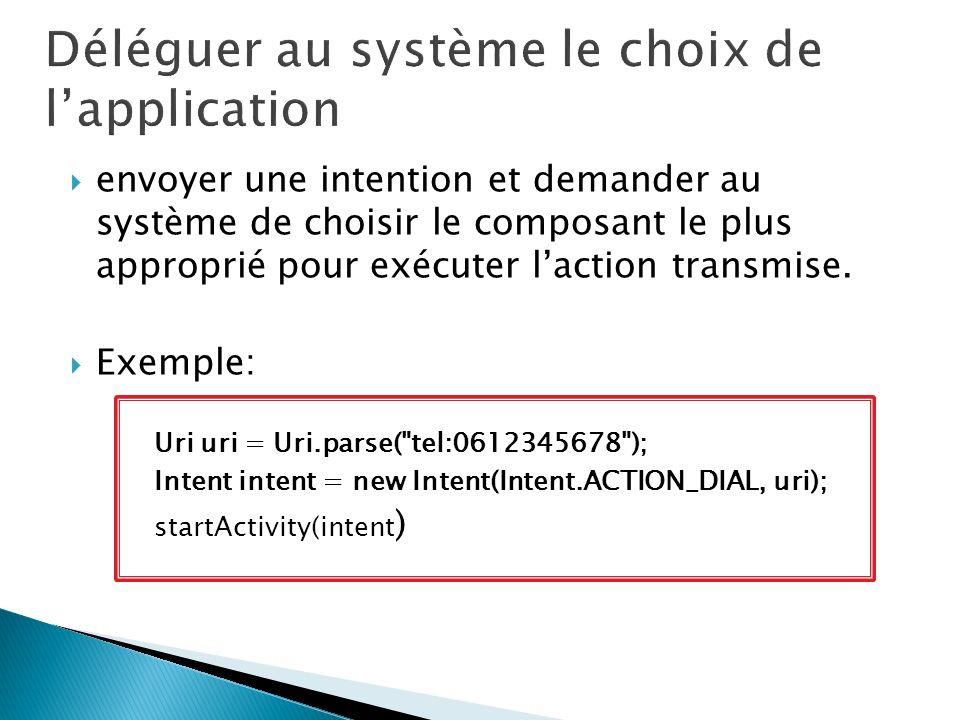 envoyer une intention et demander au système de choisir le composant le plus approprié pour exécuter laction transmise. Exemple: Uri uri = Uri.parse(