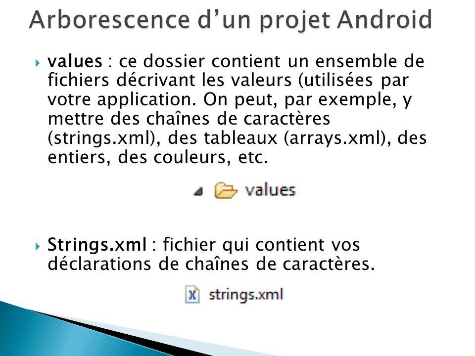 values : ce dossier contient un ensemble de fichiers décrivant les valeurs (utilisées par votre application.