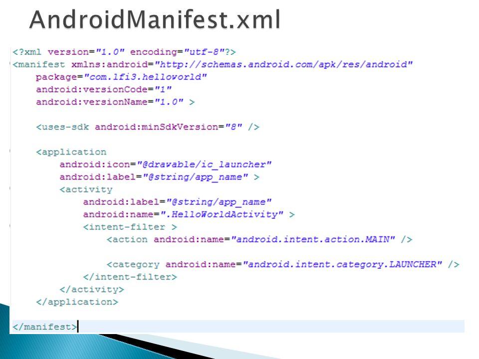 Fichier XML Précise l architecture de l application Chaque application doit en avoir un AndroidManifest.xml a la racine du projet