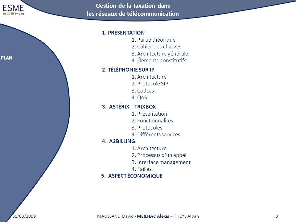 Gestion de la Taxation dans les réseaux de télécommunication PLAN 31/03/2009MAUSSAND David - MEILHAC Alexis – THEYS Alban3 1.PRÉSENTATION 1. Partie th