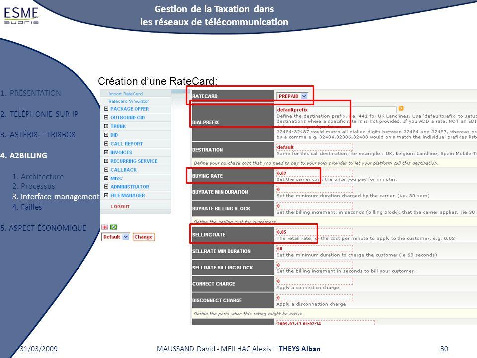 Gestion de la Taxation dans les réseaux de télécommunication 1.PRÉSENTATION 2.TÉLÉPHONIE SUR IP 3.ASTÉRIX – TRIXBOX 4.A2BILLING 1. Architecture 2. Pro