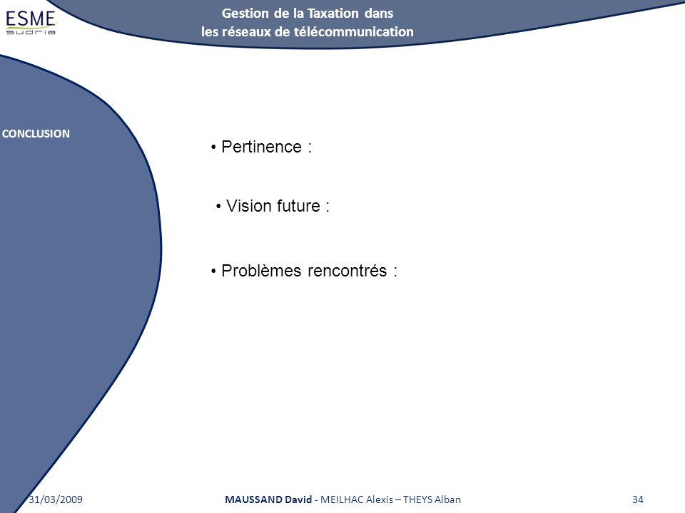Gestion de la Taxation dans les réseaux de télécommunication CONCLUSION 31/03/2009MAUSSAND David - MEILHAC Alexis – THEYS Alban34 Pertinence : Vision