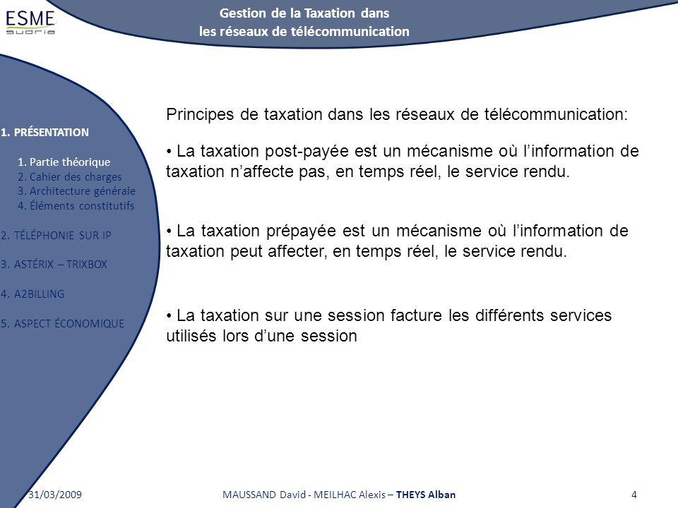 Gestion de la Taxation dans les réseaux de télécommunication 1.PRÉSENTATION 1. Partie théorique 2. Cahier des charges 3. Architecture générale 4. Élém