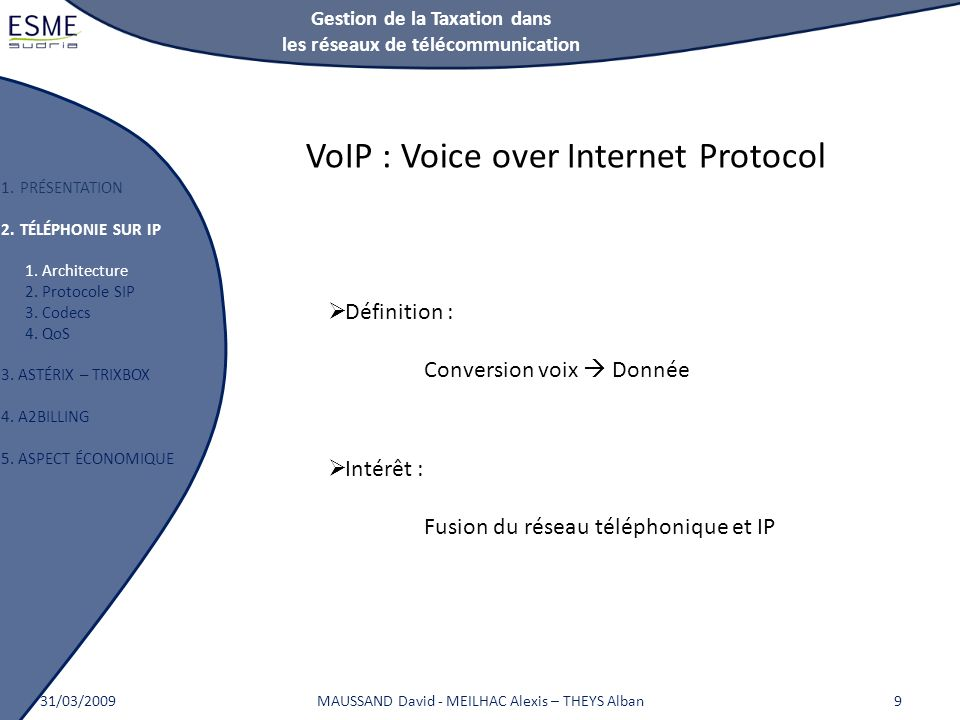 Gestion de la Taxation dans les réseaux de télécommunication 1.PRÉSENTATION 2.TÉLÉPHONIE SUR IP 1. Architecture 2. Protocole SIP 3. Codecs 4. QoS 3. A