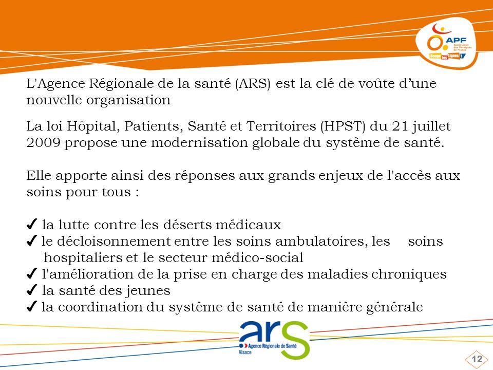 12 L Agence Régionale de la santé (ARS) est la clé de voûte dune nouvelle organisation La loi Hôpital, Patients, Santé et Territoires (HPST) du 21 juillet 2009 propose une modernisation globale du système de santé.