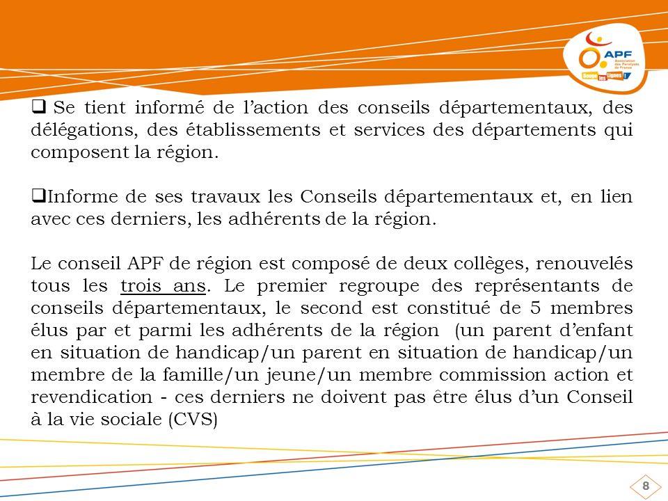 8 Se tient informé de laction des conseils départementaux, des délégations, des établissements et services des départements qui composent la région.