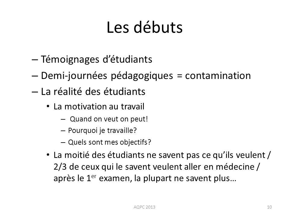 Les débuts AQPC 201310 – Témoignages détudiants – Demi-journées pédagogiques = contamination – La réalité des étudiants La motivation au travail – Qua