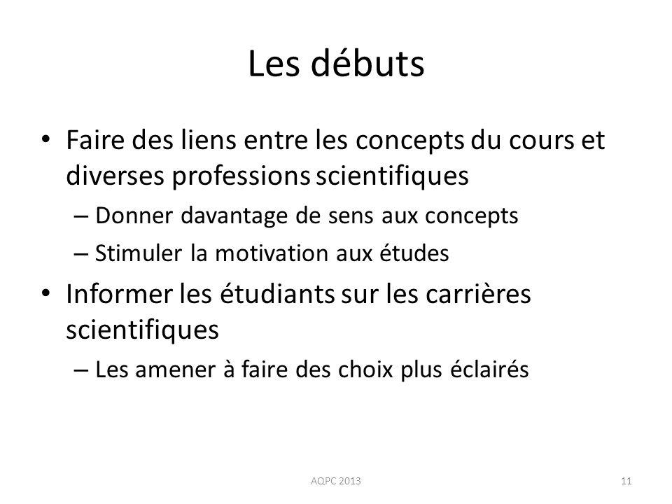 Les débuts Faire des liens entre les concepts du cours et diverses professions scientifiques – Donner davantage de sens aux concepts – Stimuler la mot