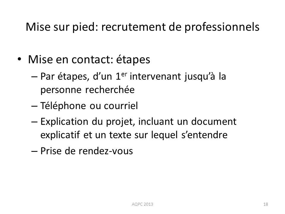 Mise sur pied: recrutement de professionnels Mise en contact: étapes – Par étapes, dun 1 er intervenant jusquà la personne recherchée – Téléphone ou c