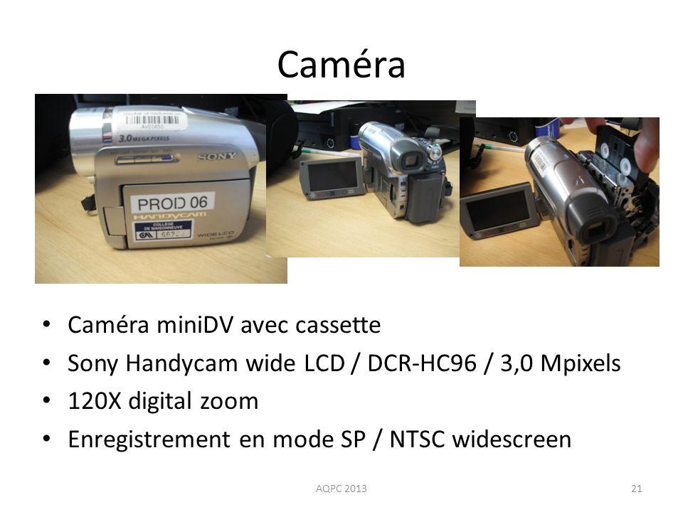 Caméra Caméra miniDV avec cassette Sony Handycam wide LCD / DCR-HC96 / 3,0 Mpixels 120X digital zoom Enregistrement en mode SP / NTSC widescreen AQPC