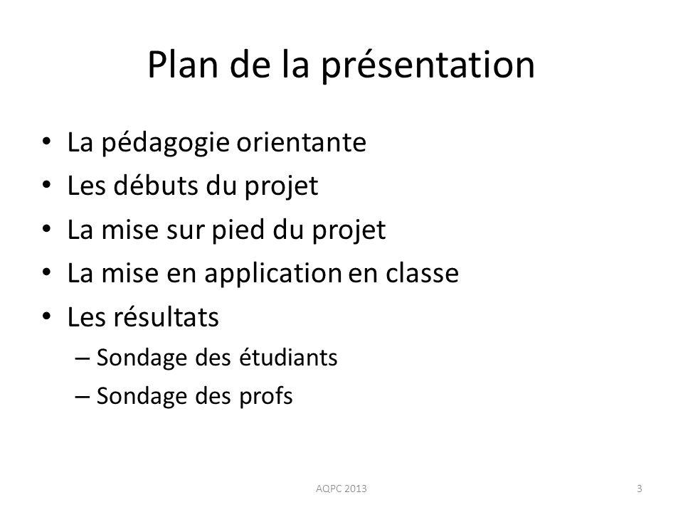 Mise en application: suppléments Powerpoint sur les diverses professions (description de la profession, études universitaires) AQPC 201344