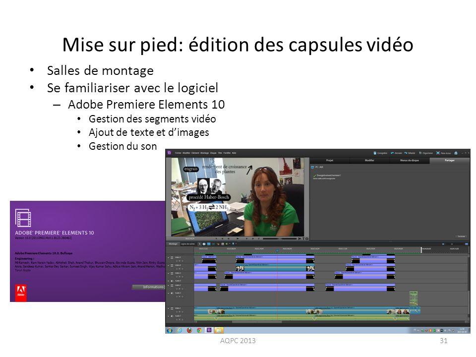 Mise sur pied: édition des capsules vidéo Salles de montage Se familiariser avec le logiciel – Adobe Premiere Elements 10 Gestion des segments vidéo A