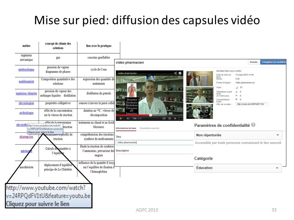AQPC 201333 Mise sur pied: diffusion des capsules vidéo