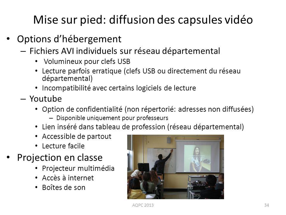 Options dhébergement – Fichiers AVI individuels sur réseau départemental Volumineux pour clefs USB Lecture parfois erratique (clefs USB ou directement