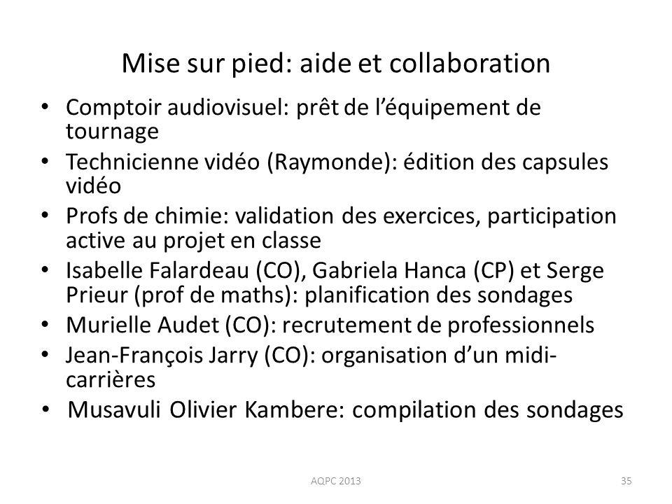 Mise sur pied: aide et collaboration Comptoir audiovisuel: prêt de léquipement de tournage Technicienne vidéo (Raymonde): édition des capsules vidéo P