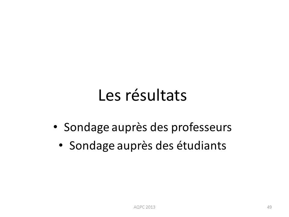 Sondage auprès des professeurs Sondage auprès des étudiants AQPC 201349 Les résultats