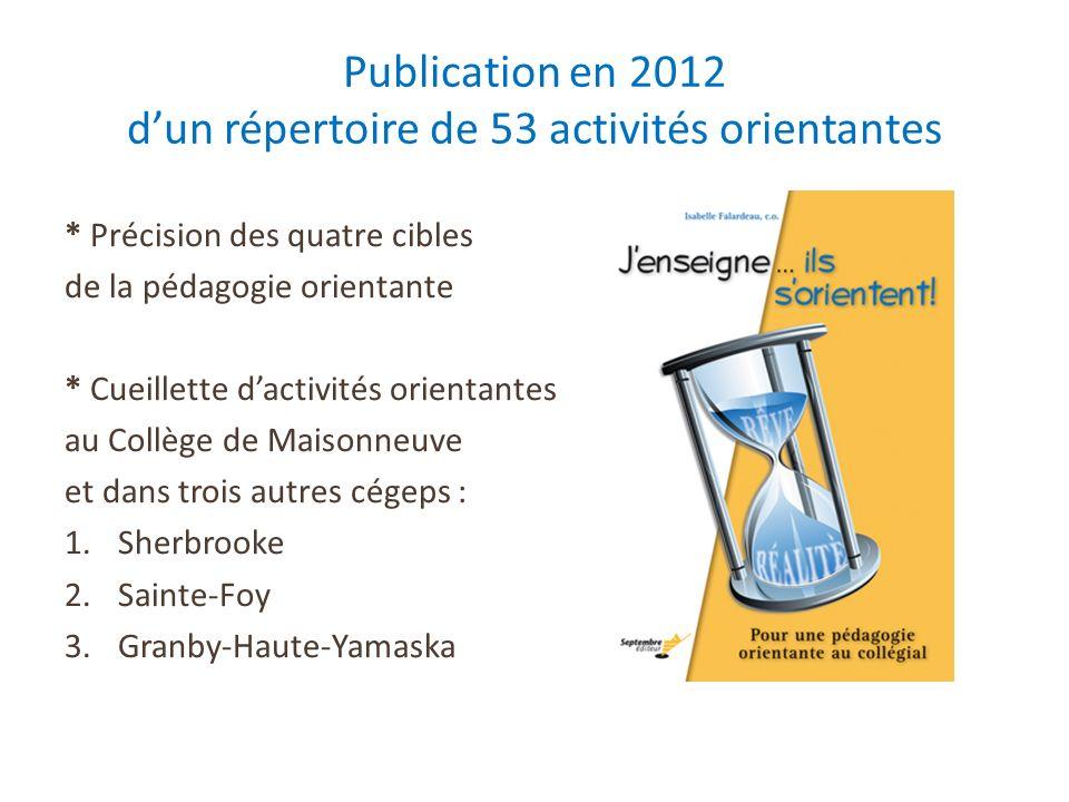 Publication en 2012 dun répertoire de 53 activités orientantes * Précision des quatre cibles de la pédagogie orientante * Cueillette dactivités orient