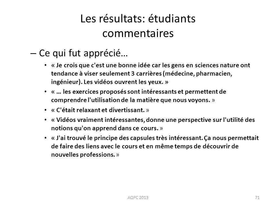 Les résultats: étudiants commentaires – Ce qui fut apprécié… « Je crois que c'est une bonne idée car les gens en sciences nature ont tendance à viser