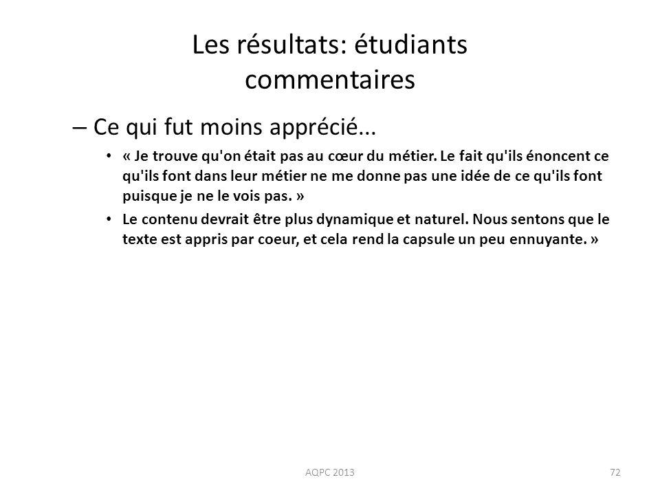 Les résultats: étudiants commentaires – Ce qui fut moins apprécié... « Je trouve qu'on était pas au cœur du métier. Le fait qu'ils énoncent ce qu'ils