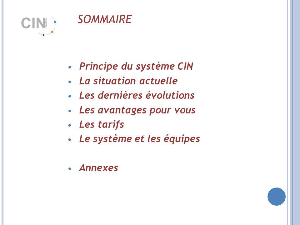 SOMMAIRE Principe du système CIN La situation actuelle Les dernières évolutions Les avantages pour vous Les tarifs Le système et les équipes Annexes