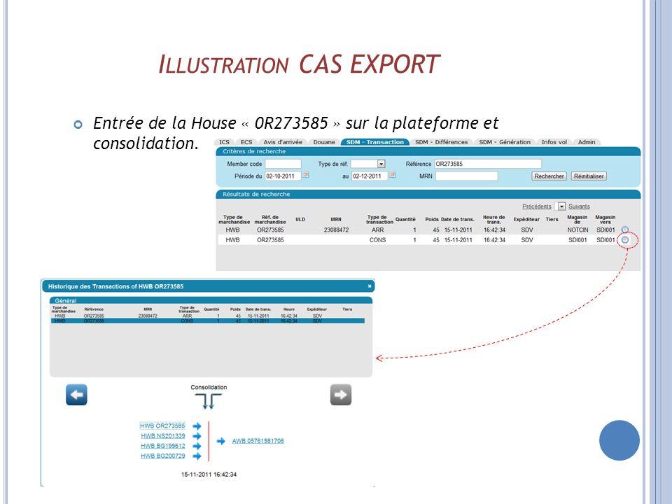 I LLUSTRATION CAS EXPORT Entrée de la House « 0R273585 » sur la plateforme et consolidation.