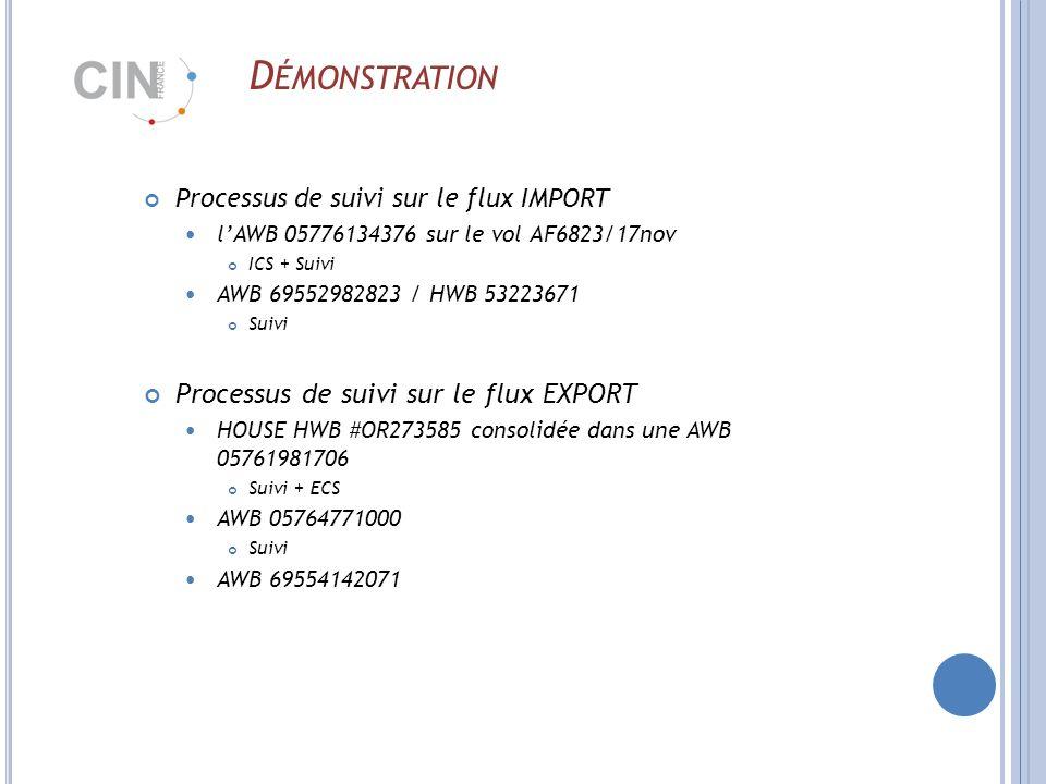 D ÉMONSTRATION Processus de suivi sur le flux IMPORT lAWB 05776134376 sur le vol AF6823/17nov ICS + Suivi AWB 69552982823 / HWB 53223671 Suivi Processus de suivi sur le flux EXPORT HOUSE HWB #OR273585 consolidée dans une AWB 05761981706 Suivi + ECS AWB 05764771000 Suivi AWB 69554142071
