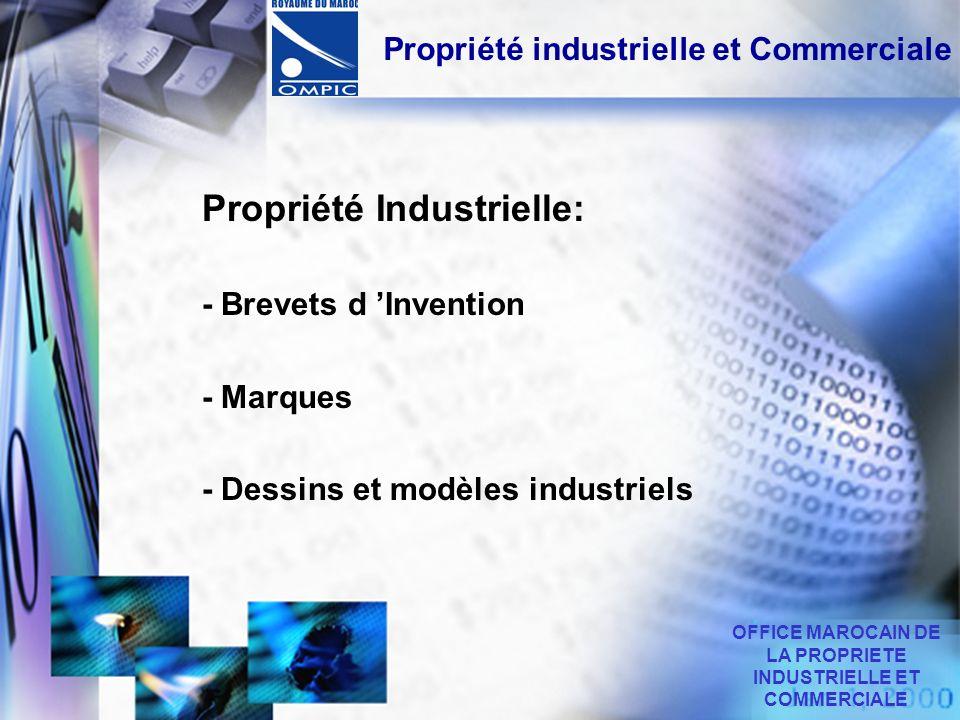 Propriété industrielle et Commerciale Propriété Industrielle: - Brevets d Invention - Marques - Dessins et modèles industriels OFFICE MAROCAIN DE LA P