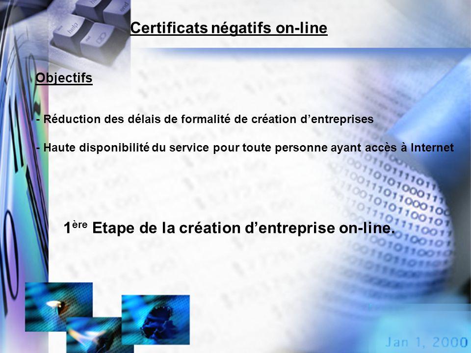 Certificats négatifs on-line - Réduction des délais de formalité de création dentreprises - Haute disponibilité du service pour toute personne ayant a