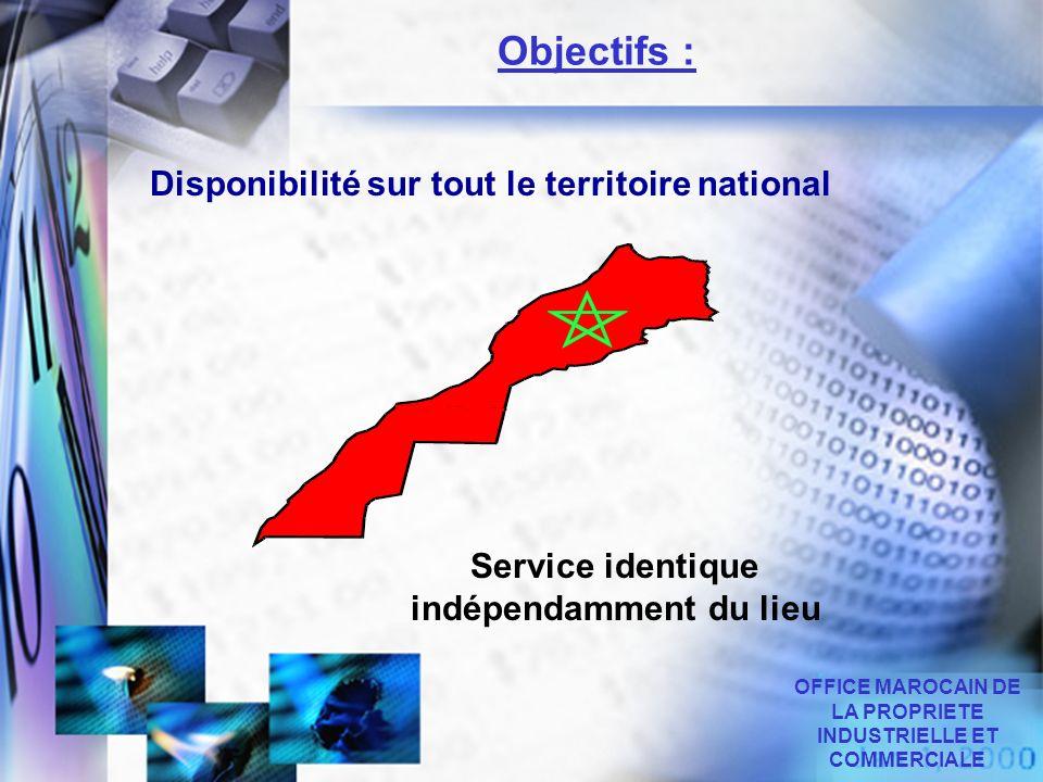 Disponibilité sur tout le territoire national OFFICE MAROCAIN DE LA PROPRIETE INDUSTRIELLE ET COMMERCIALE Objectifs : Service identique indépendamment