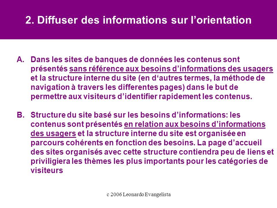 c 2006 Leonardo Evangelista 2.Diffuser des informations sur lorientation A.