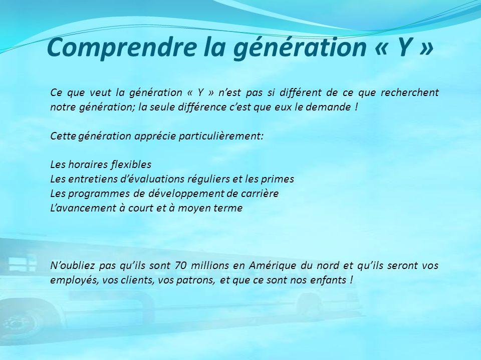 Comprendre la génération « Y » Ce que veut la génération « Y » nest pas si différent de ce que recherchent notre génération; la seule différence cest