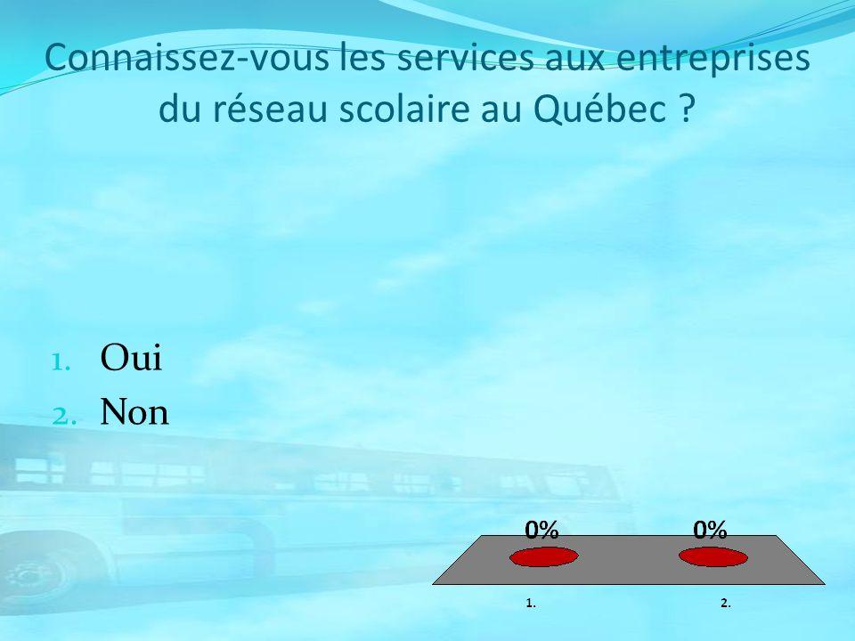 Connaissez-vous les services aux entreprises du réseau scolaire au Québec ? 1. Oui 2. Non