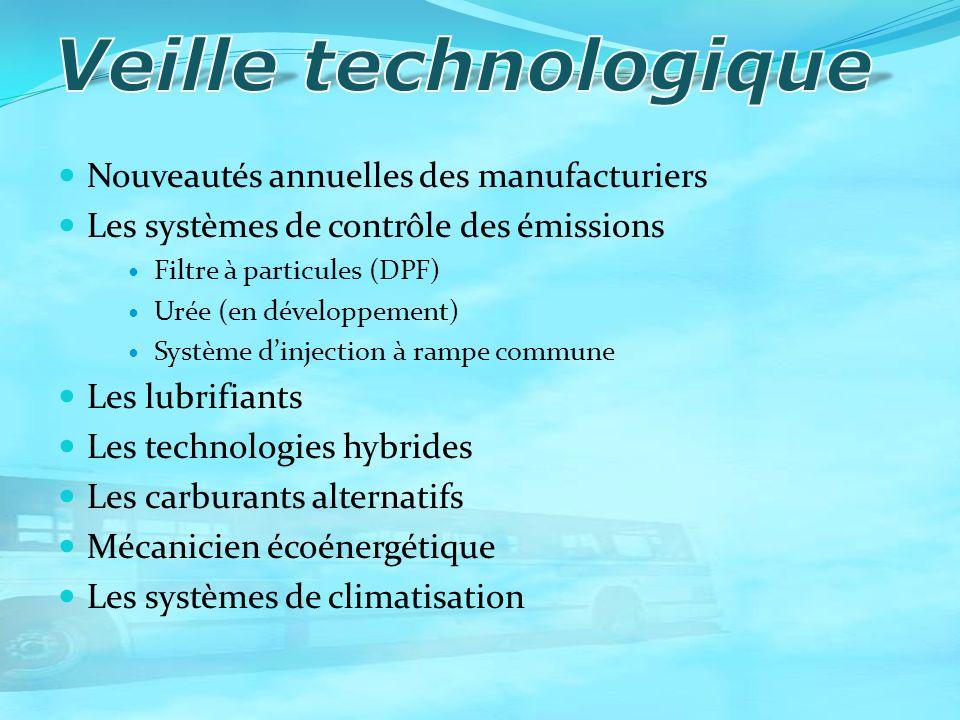 Nouveautés annuelles des manufacturiers Les systèmes de contrôle des émissions Filtre à particules (DPF) Urée (en développement) Système dinjection à