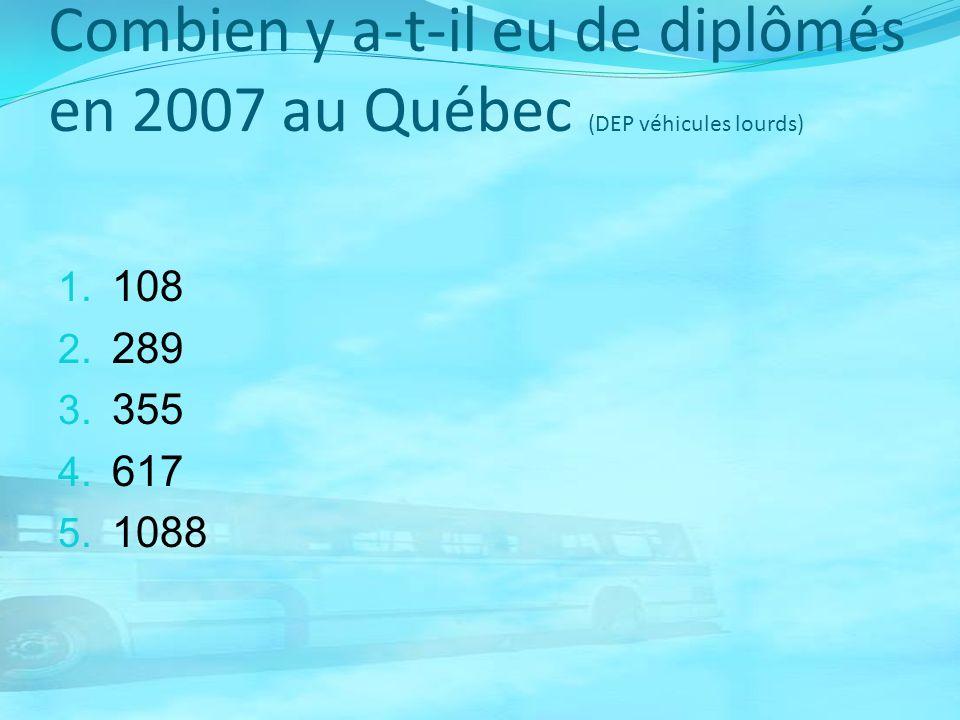 Combien y a-t-il eu de diplômés en 2007 au Québec (DEP véhicules lourds) 1. 108 2. 289 3. 355 4. 617 5. 1088