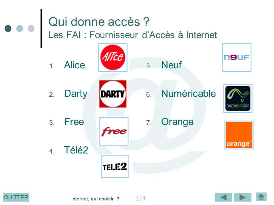 QUITTER Qui donne accès ? Les FAI : Fournisseur dAccès à Internet 1. Alice 2. Darty 3. Free 4. Télé2 5. Neuf 6. Numéricable 7. Orange 1/4 Internet, qu