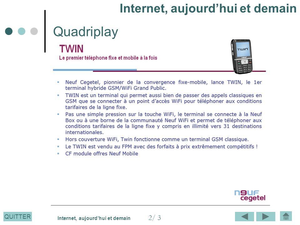 QUITTER Quadriplay Internet, aujourdhui et demain 2/ 3 Internet, aujourdhui et demain