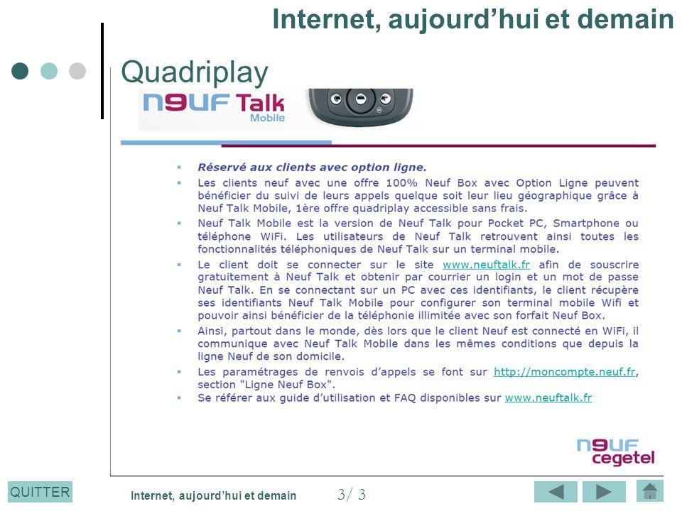 QUITTER Quadriplay Internet, aujourdhui et demain 3/ 3 Internet, aujourdhui et demain