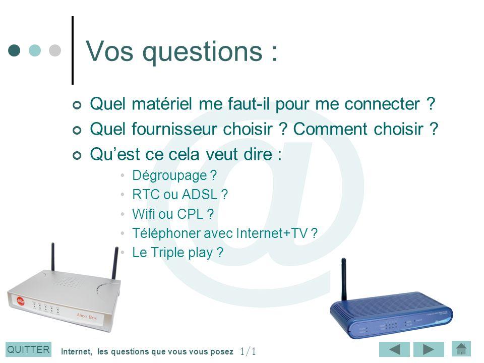 QUITTER Vos questions : Quel matériel me faut-il pour me connecter ? Quel fournisseur choisir ? Comment choisir ? Quest ce cela veut dire : Dégroupage
